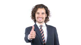 Решение дела, одобряет, большие пальцы руки вверх, вьющиеся волосы Стоковые Изображения RF