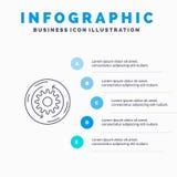 Решение, Дело, Компания, финансы, линия значок структуры с предпосылкой infographics представления 5 шагов иллюстрация вектора