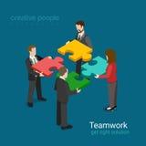 Решение дела в сети 3d концепции партнерства плоской равновеликой Стоковая Фотография RF