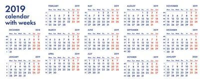 решетка 2019 календарей с иллюстрацией недель Стоковая Фотография