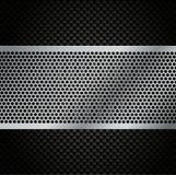 Решетка металла вектора на предпосылке волокна углерода Стоковые Фотографии RF