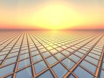 решетка над заходом солнца рапорта Стоковая Фотография