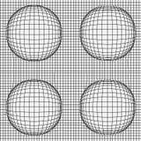 Решетка передернутых динамических линий с сферами иллюстрация вектора