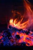 решетка пламени bbq барбекю Стоковые Изображения RF