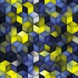 Решетки косоугольника формы куба градиента вектора картина безшовной Multicolor голубой желтой геометрическая Стоковые Изображения