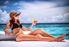 Релаксация на пляже Стоковое Изображение
