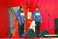 Реле олимпийского пламени в Москве Стоковая Фотография RF