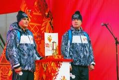 Реле олимпийского пламени в Москве Стоковые Изображения