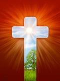 Религиозная иллюстрация, крест, свет мира Стоковое Изображение RF