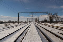 Рельсы зимы Стоковое Изображение