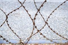 Ржавая колючая проволока на предпосылке камешков загородки и моря стоковые фотографии rf