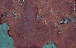 Ржавая коричневая текстура утюга, голубая старая загородка со слезать краску Текстурированные обои для дизайна иллюстрация вектора