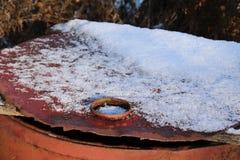 Ржавая крышка от бочонка Стоковое фото RF