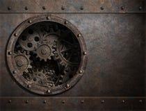 Ржавая предпосылка металла с иллюминатором и шестерни внутри иллюстрации 3d Стоковая Фотография