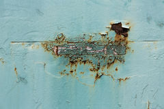 Ржавая текстура металла, ржавая предпосылка металла, зеленый цвет Стоковое фото RF