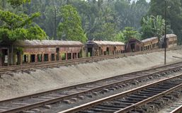 Ржавое старое carage поезда в Канди Стоковое Фото