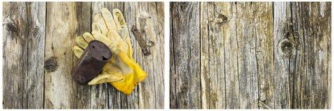 Ржавое barnwood перчаток работы банки пива Стоковое Фото