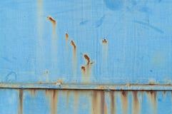 Ржавчина на предпосылке плиты утюга сини Стоковое Изображение RF