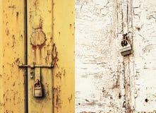 Ржавые дверь и замок стоковые изображения rf