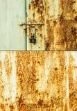 Ржавые дверь и замок стоковое изображение rf