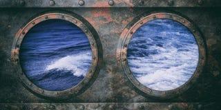 Ржавые иллюминаторы корабля metal предпосылка, волнистое море из окон иллюстрация 3d иллюстрация вектора