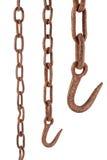 Ржавые цепь и крюк Стоковая Фотография