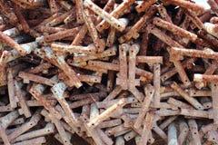Ржавые шипы металла для прессформы constrction Стоковая Фотография