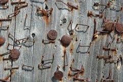 Ржавые штапеля на pinboard Стоковая Фотография RF