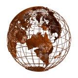 Ржавый глобус планеты 3D земли Стоковые Фото