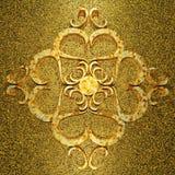 Ржавый золотой орнамент металла 3d Стоковое Изображение RF