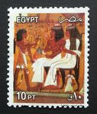 Рига, Латвия - 10-ое мая 2019: Печать почтового сбора фараона Египта стоковые изображения
