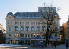 Рига, русский театр Chekhova на квадрате Liv стоковое фото
