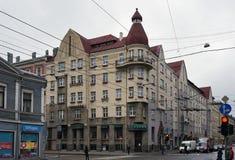 Рига, улица Aleksandra Caka, исторические здания стоковые фотографии rf