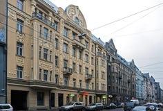 Рига, улица Matisa, здание Nouveau искусства Стоковые Фотографии RF