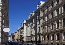 Рига, улица Vilandes, квартал Nouveau искусства стоковые изображения rf