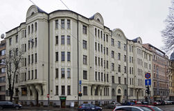 Рига, Baznicas 46, искусство Nouveau, архитектор Konstantin Pekshens стоковое изображение rf