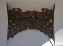 Рига, Elizabetes 13, декоративный элемент фасада стоковые изображения rf