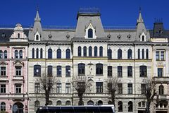 Рига, Elizabetes 17, историческое здание с элементами искусства Nouveau и эклектизм стоковое изображение