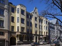 Рига, Rupniecibas 3, многоквартирный дом в стиле Nouveau искусства стоковая фотография
