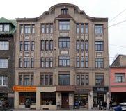 Рига, Terbatas 37, здание Nouveau искусства стоковая фотография rf