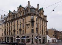 Рига Terbatas 65, здание Nouveau искусства стоковое фото rf