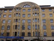 Рига, Terbatas 59-61, искусство Nouveau, элементы фасада стоковое фото