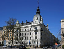 Рига, Vilandes 1, историческое здание с элементами искусства Nouveau и эклектизм стоковые фотографии rf