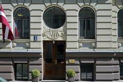 Рига, Vilandes 2, многоквартирный дом, элементы украшения стоковые изображения rf
