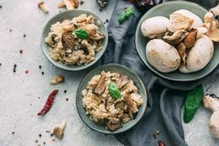 Ризотто с грибами, свежими травами и сыр пармесаном стоковое фото rf
