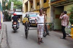 Рикша вытягиванная рукой Kolkata Стоковая Фотография