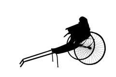 Рикша Silhoutte старой винтажной китайской вытягиванная рукой Стоковое Изображение RF