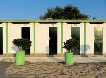 Римини - зеленые кабины пляжа Стоковое Изображение RF