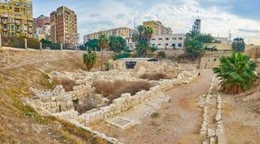 Римская деревня в объявлении Dikka Kom, Александрии, Египте Стоковые Изображения RF