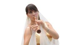 Римская женщина играя каннелюру Стоковое Изображение